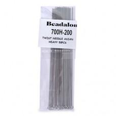 Heavy Beadalon Twisted Needles, 8.9cm long, Bulk pack of 50, 700H-201