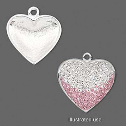 Heart Shaped Charm Bezel, 20 x 19mm, Pack of 2, Rhodium Plated