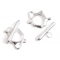 15 x 19mm Kettle Toggle Clasps, Silver, Pack of 2