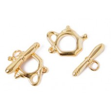 15 x 19mm Kettle Toggle Clasps, Gold, Pack of 2