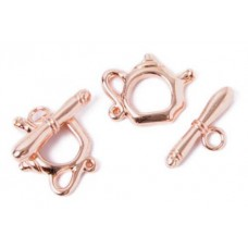 15 x 19mm Kettle Toggle Clasps, Copper, Pack of 2