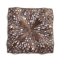 50mm Filigree Rippled Square, Antique Copper Finish