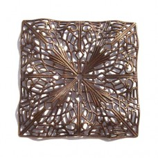 50mm Filigree Rippled Square, Antique Copper Finish