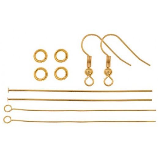Finding Kit, Ball & Spring Earrings, Gold, 1 Set, 26002000-19