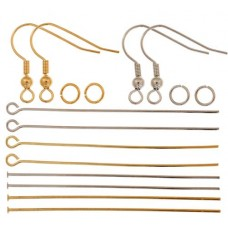 Finding Kits - Fish Hooks / Jump Rings / Head Pins / Eye Pins, Gold & Silver...