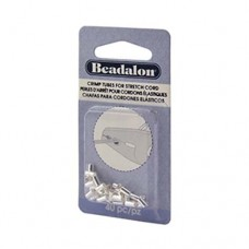 Beadalon 346B-020 Crimps for Stretch Cord 0.5 mm, Silver Plated, 80Pcs
