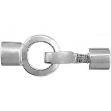 Kumihimo Hook & Eye Cap Clasp for 8mm Cord Round Silver Plated