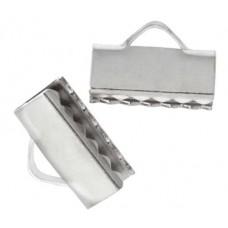 16mm Silver Colour Ribbon Ends, 4 Pieces 26010816