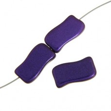 Glass Icy Rectangle, 20x12mm Purple Metallic, Pack of 4
