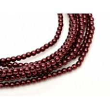 Wine Shiny 2mm Glass Pearls, Approx 150 Beads