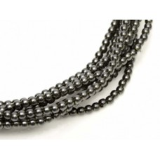 Charcoal Shiny 2mm Glass Pearls, Approx 150 Beads