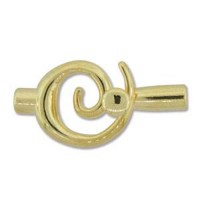 Bulk Bag, Small Swirl Glue-in Toggle, I.D 6.2mm, Gold, Pack of 12