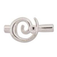 Small Swirl Glue-in Toggle, I.D 3.2mm, Silver
