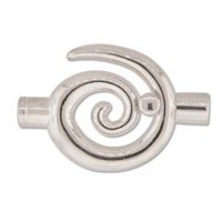 Large Swirl Glue-in Toggle, I.D 6.2mm, Silver