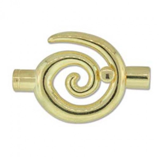 Large Swirl Glue-in Toggle, I.D 6.2mm, Gold