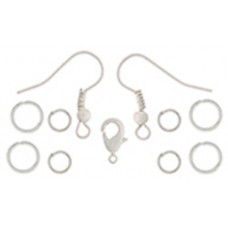 Dazzle It NEO Findings Set - White Earrings/Jumprings/9.5mm Clasp