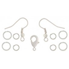 Dazzle It NEO Findings Set - White Earrings/Jumprings/12.5mm Clasp