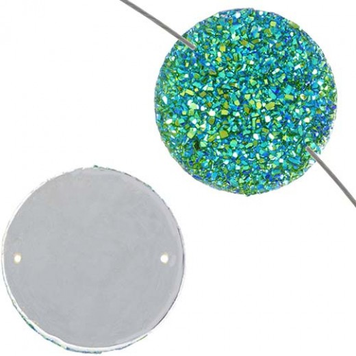 Dazzle-it Resin sew-on sugar stone round, 22mm, Emerald