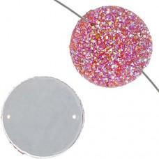 Dazzle-it Resin sew-on sugar stone round, 22mm, Fuchsia AB