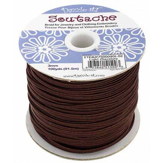 Light Chocolate 3mm Soutache, 10 Metre Length