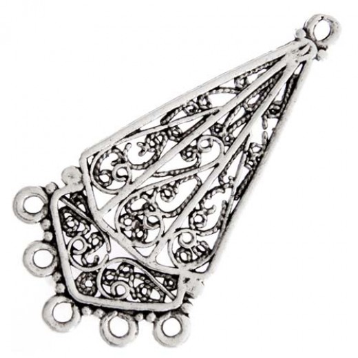 Chandelier Earring Part 5 Ring, Antique Silver, 52x28mm, 1 Pair