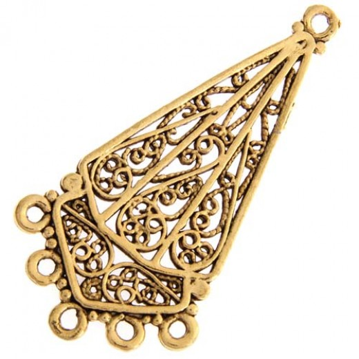 Chandelier Earring 5 Part Ring Antique Gold 52x28mm, 1 Pair