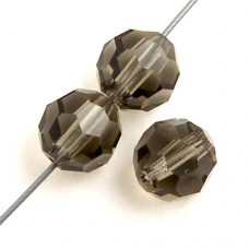 "Black Diamond Preciosa 6mm Round Crystals on 5"" Strand, 21 pieces"