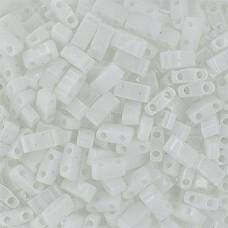 White Opaque Matte Half Tila Beads, colour 0402F,   5.2g approx.