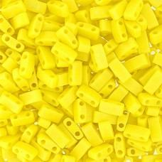 Lemon Yellow Opaque AB .Matte Miyuki Half Tila Beads, code 0404FR, 50gm bag