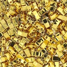 Gold Opaque Miyuki Half Tila Beads, colour 0191V, 3.3g approx.