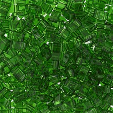 Lt. Emerald Transparent Miyuki Half Tila Beads, code 0146, 50gm bag