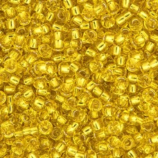 Yellow Silver Lined Miyuki 11/0 Seed Beads, Approx 22g, Colour 0006