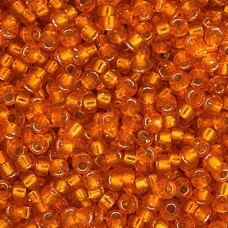 Orange Silver Lined Miyuki 11/0 Seed Beads, Approx 22g, Colour 0008