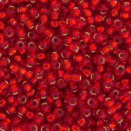 Bulk Bag Flame Red Silver Lined Miyuki 11/0 Seed Beads, 250g, Colour 0010