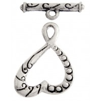 26mm Heart Fancy Toggle Clasp, Antique Silver, Pack of 2