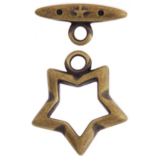 15mm Fancy Star Toggle Clasps, Antique Copper, Pack of 2