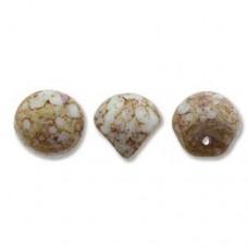 White Terracota Red Mushroom Bead 9x8mm - 30 beads