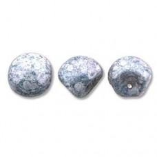 White Terracota Blue Mushroom Bead 9x8mm - 30 beads