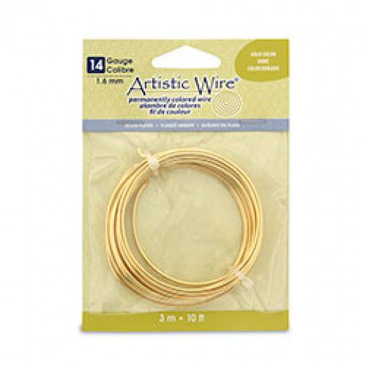 Gold, 10 ft (3.1m) 14 Gauge Copper Wire