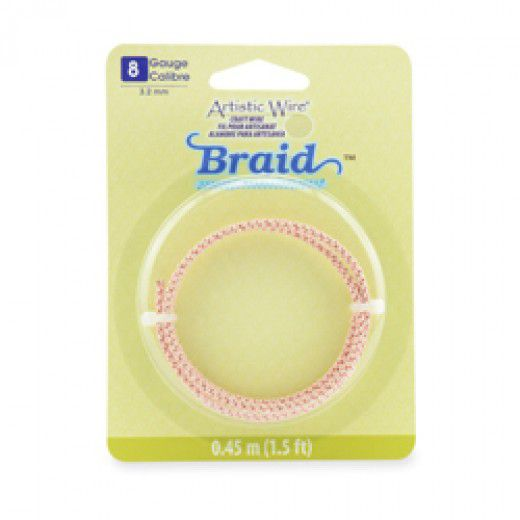 18 Gauge (3.2 mm), Round Braid, Rose Gold Color, 1.5 ft (.45 m)