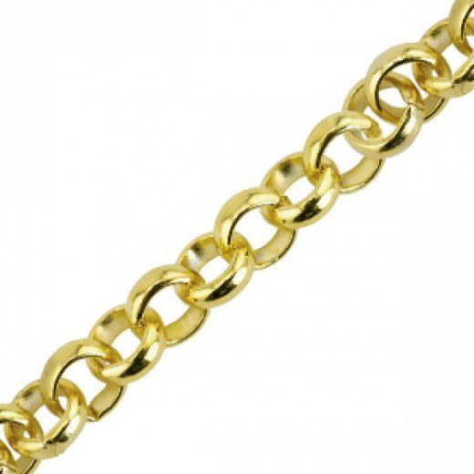 Large Rolo Chain, Gold Plated, 49.5cm Length