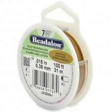 "Beadalon JW01NG-0, 7 Strand Wire, Satin Gold Colour, 0.012"", 30ft Reel"