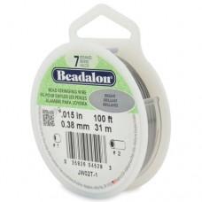Bright, 0.15 inch, 100ft Reel Beadalon 7 Strand Beading Wire, JW02T-1