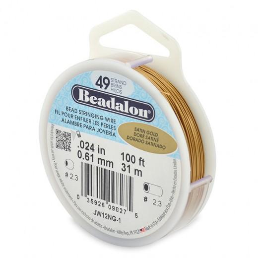 Beadalon JW12NG-1 49 Strand Beading Wire, Satin Gold Colour, 0.24, 100ft Reel