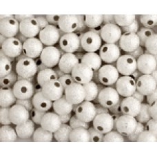 6mm Round Stardust Bead, Silver, Pack of 10