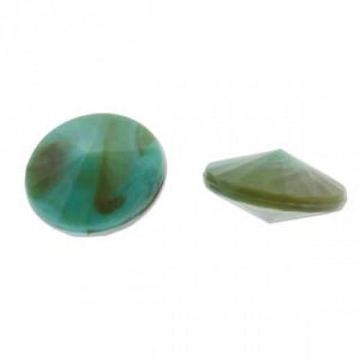 Marbled Turquoise 12mm Acrylic Rivoli