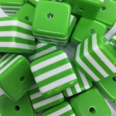 18mm Lucite Striped Green Cube, Pack of 4