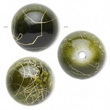 Acrylic Veined Beads, Khaki Round, 18mm, Pack of 10