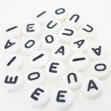 7mm Vowel Alphabet Beads, Pack of 25 (5 of each vowel)
