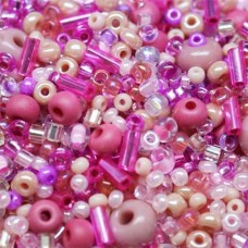 Pink Seed Bead Mix, Approx 10 Grams